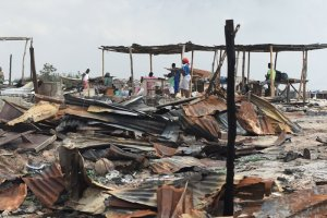 Otodo Gbame, a poor fishing community on the shores of a lagoon in Lagos, was razed by the police and a group of young men, according to residents and local activists, who say the motive was to take the land for development. Credit Pius Utomi Ekpei/Agence France-Presse — Getty Images