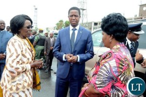 President Lungu with First Lady Esther Lungu and Vice-President Inonge Wina at Kenneth Kaunda International Airport shortly before departure for Ghana on Friday, January 6,2017-Picture by THOMAS NSAMA