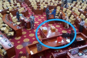 Ghana's Parliament leaking rain water after building's roof is ripped off
