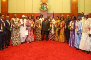 Akufo Addo and the newly appointed Ambassadors