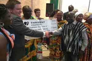 Thrivent Financial donating cheque to Asanteman