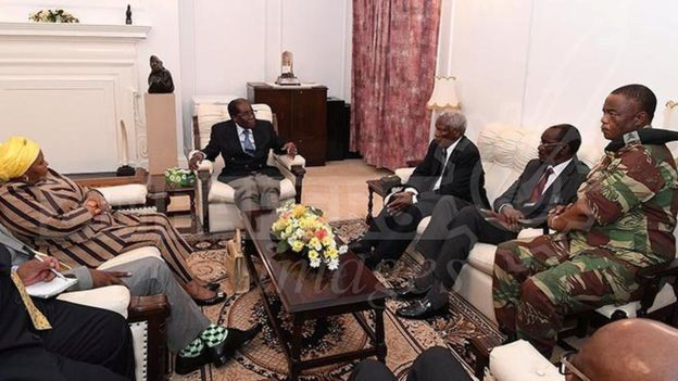 Mugabe met officials at State House in Harare