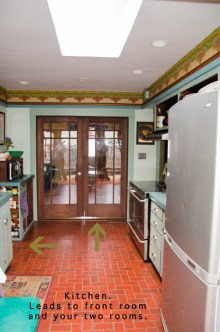Kitchen: Glass doors lead into dining room and front room.