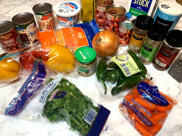 Group of ingredients from Aldi to make vegetarian chili.