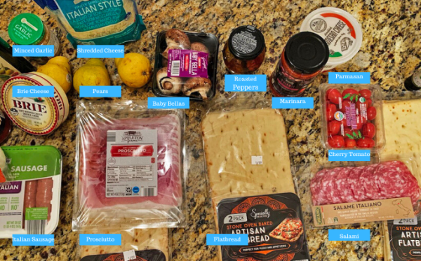 Ingredients to make homemade flatbread pizza using Aldi ingredients and Aldi flatbread.