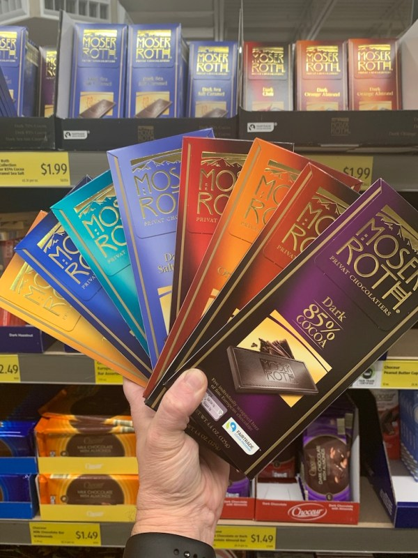 A variety of Aldi chocolate bars.