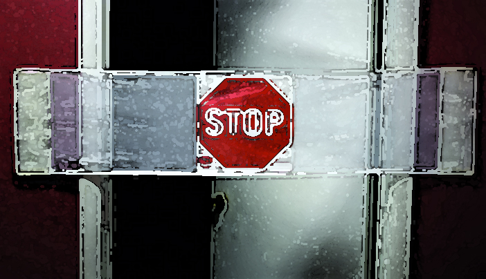 Stop sign across door painterly