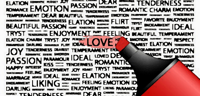 8840339 - love. highlighter over background with different association terms. vector illustration.