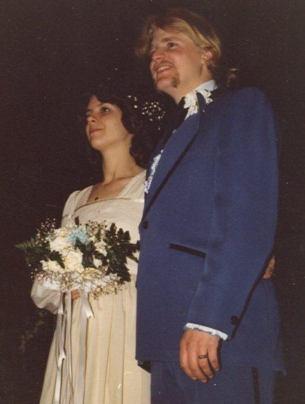 70's wedding, Gunne Sax dress