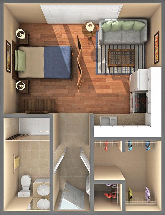 15 Smart Studio Apartment Floor Plans Page 2 Of 3