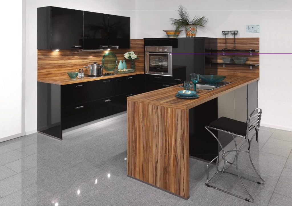 Ultra Modern And Sleek Black And Wood Kitchens - Page 2 of 3 on Modern:0Bjn4Cem9Be= Kitchen Counter  id=28661