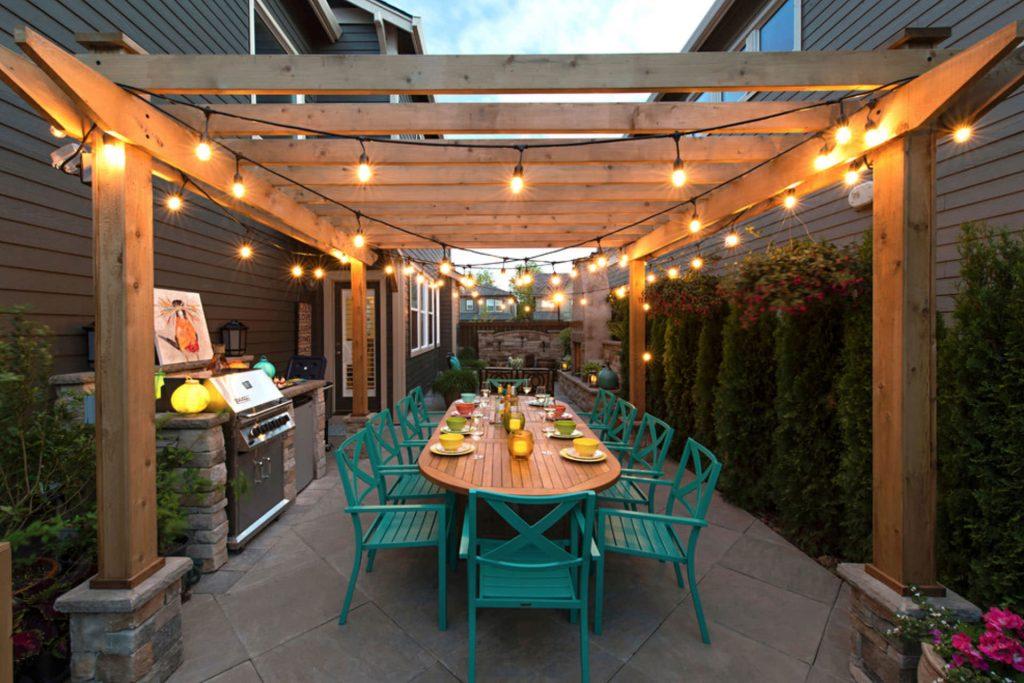 Pergola String Lights Set A Romantic Mood In Your Backyard ... on Backyard:uuezyx-Hy-8= Landscape Design  id=63935