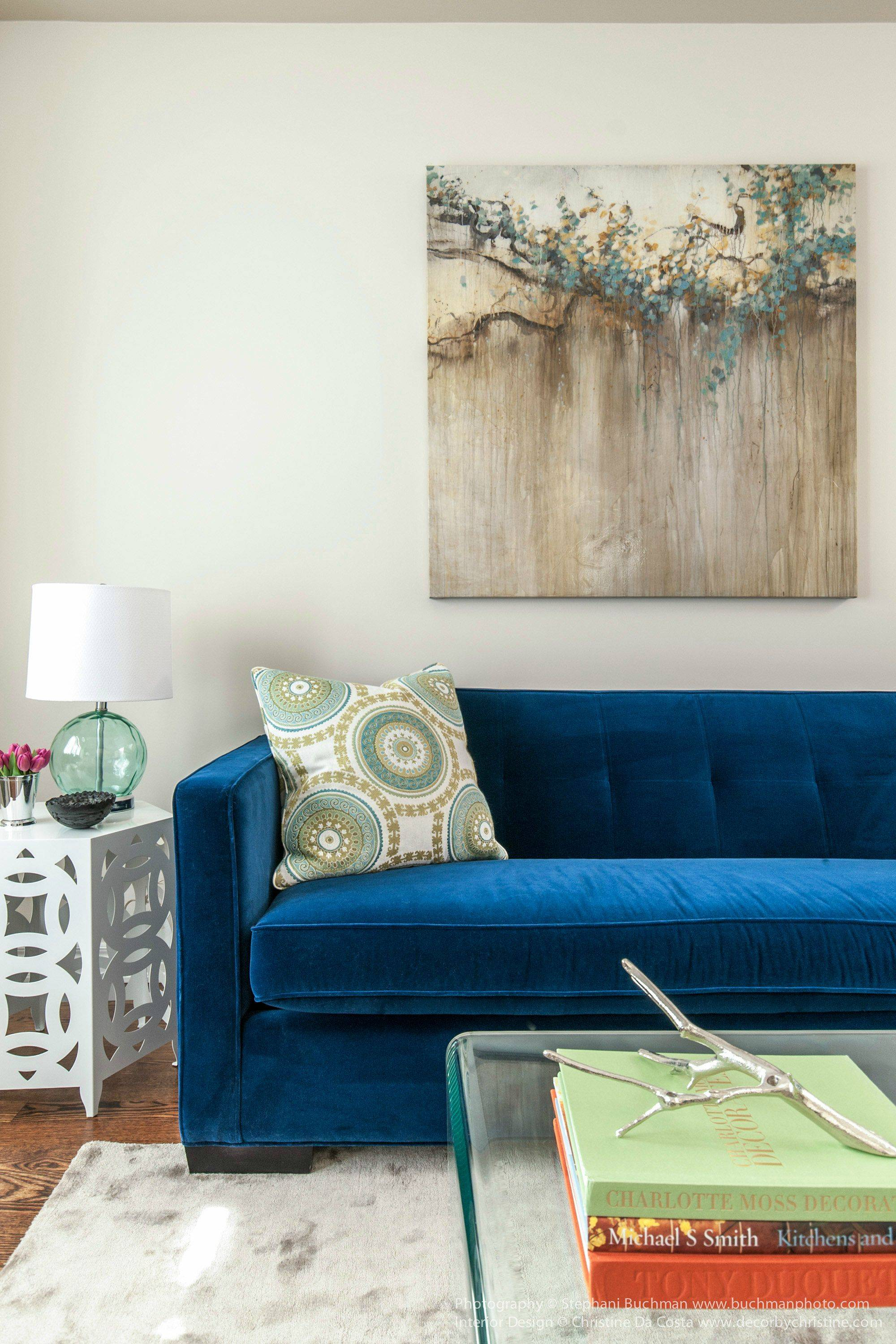 Blue Velvet Sofa Ideas For Creating A Royal Living Room