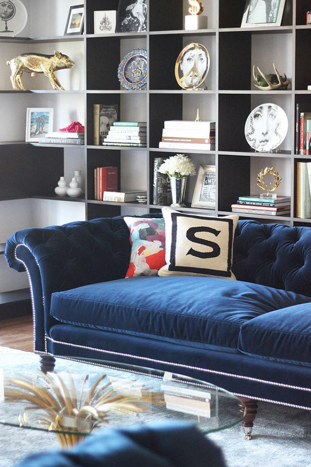 Living Room With Blue Velvet Chesterfield Sofa Novocom Top