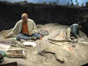 Diorama of paleontologists on a dig at The Creation Museum in Petersburg, KY