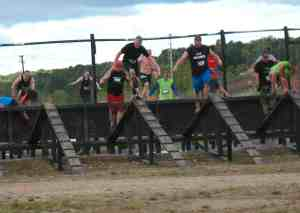 Malcolm Logan on the Two X Fall obstacle at the Warrior Race in Grand Rapids, MI