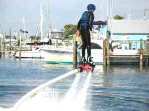 Malcolm Logan works on going higher on his Flyboard