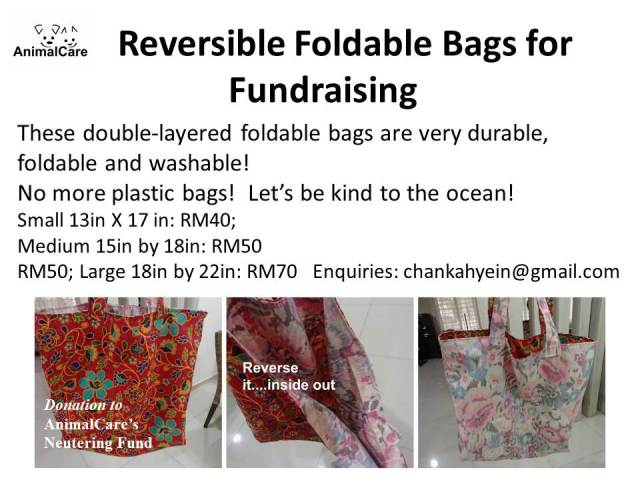 Reversible foldable bags for fundraising