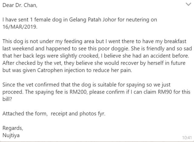 Neutering Aid For 2 Dogs In Gelang Patah (Nujtiya Charensouk's)