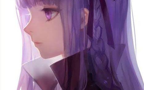 anime girl with purple hair