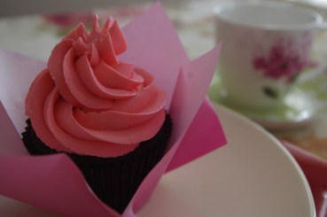 Chocolate Cupcake with Pink Swiss Meringue
