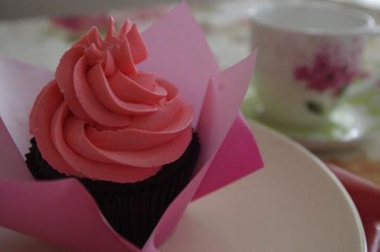 Chocolate Cupcake with Pink Swiss Meringue