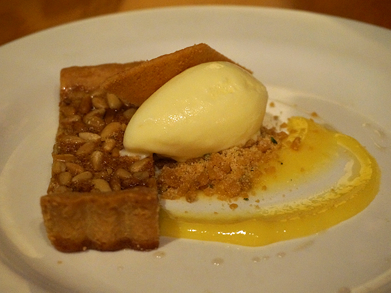 Pine Nut Tart, lemon curd, rosemary brittle powder & creme fraiche ice cream. Also excellent. The tart was good but really it was all about the creme fraiche ice cream