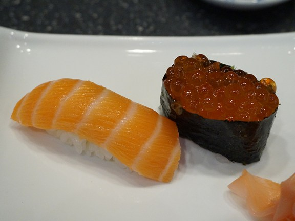 Accordingly, I got the regular salmon and salmon roe. The salmon was dull but the ikura was pretty good (briny and clean).