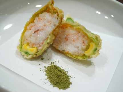 Zucchini flower tempura stuffed with shrimp. I got the raw end of this deal as mine was rather greasy. The missus liked hers a lot though.