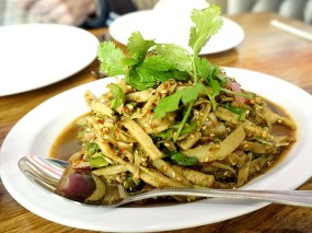 This salad of shredded bamboo shoots that Michael and I ate on the second occasion, however, was in fact highly memorable---both because it was very good and because it was very, very, lethal.