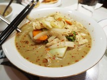 And this was the alleged laksa. Yes, the same coconut milk base with our old friends, the sliced vegetables.