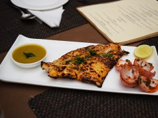 This, made with sole, is their take on Amritsari fish tikkas. It's made in the tandoor and served with a quite-good bell pepper chutney.