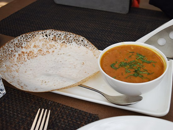 """Aaj ki dal""/Dal of the day on the day was a moth dal, I believe. It was quite good. It's not served with an appam---we just happened to order an extra appam when we ordered the dal."