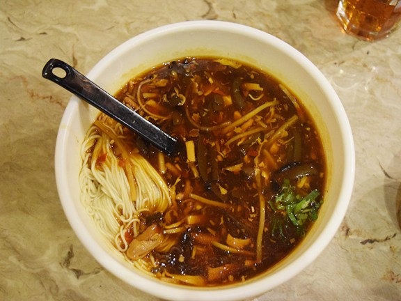 The noodles were excellent but we hadn't quite realized until it showed up that this was essentially going to be noodles in hot and sour soup. Still, quite good.