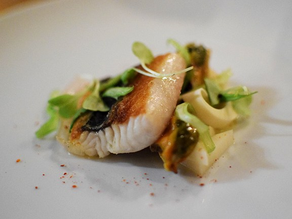 Spanish mackerel with pickled hearts of palm, guanciale, smoked mussels, and lovage