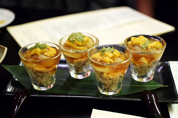 This gorgeous layered masterpiece of uni, scallop and blue crab with a tart ponzu jelly and just a dab of wasabi to give it some bite would be a very good way to start. This comes two to an order, by the way. We got two orders so as to not come to blows.