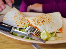 Here's an excellent quesadilla with their signature tinga de pollo inside.