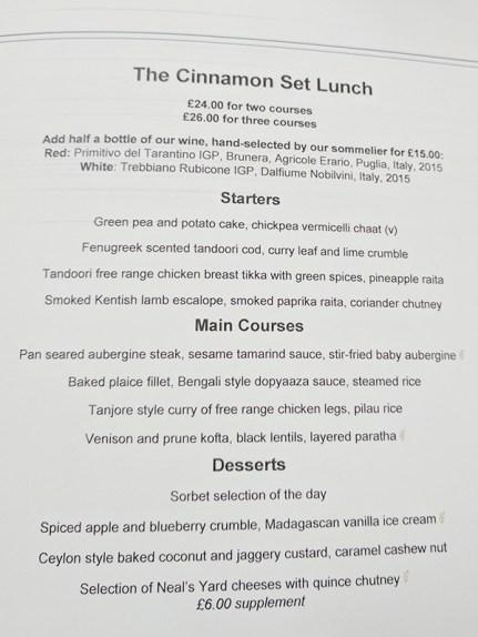 The Cinnamon Club: Set lunch menu