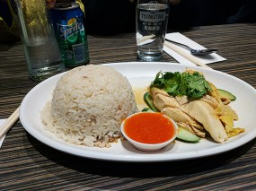 Don't tell our kids but the Hainanese chicken rice is just okay.