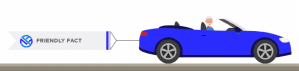 Illustration of retired man driving blue sports car pulling a sign that says friendly fact.