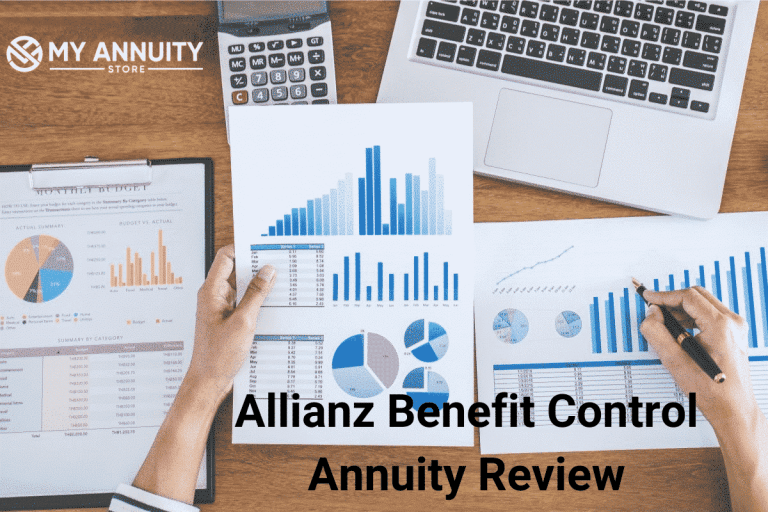 Picture of computer and annuity graphs on desk from above - allianz benefit control annuity review
