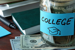 Jjar of money labeled college