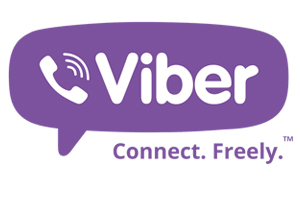 "Viber logo - purple dialog balloon with a white classic rotary handset and the word ""Viber"" in white. ""Connect. Freely"" is written in purple print underneath the balloon."