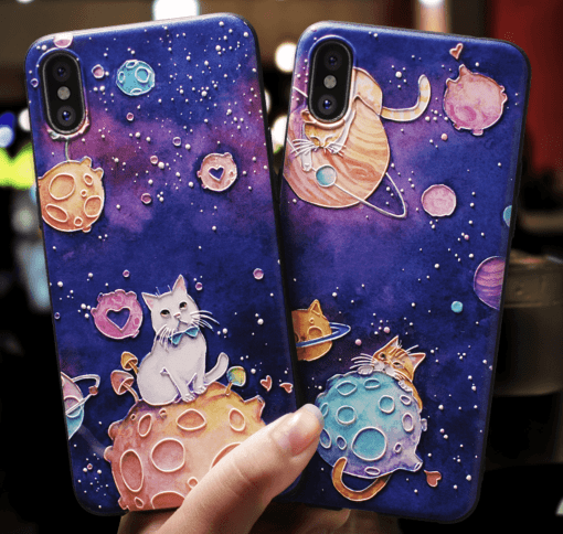 Cute cosmic planet Cat 3D embossed Relief case