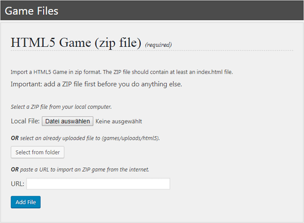Import HTML5 Game to WordPress