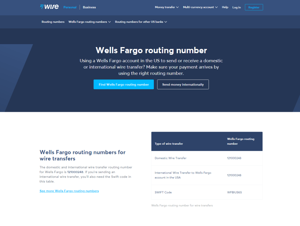 Wells Fargo Routing Number - United States - List By State 2022