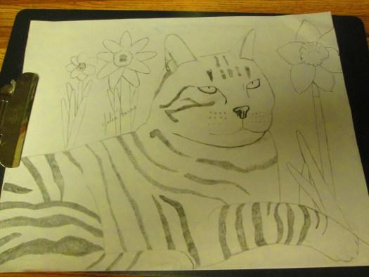 Daffodils were drawn behind Stripey cat.