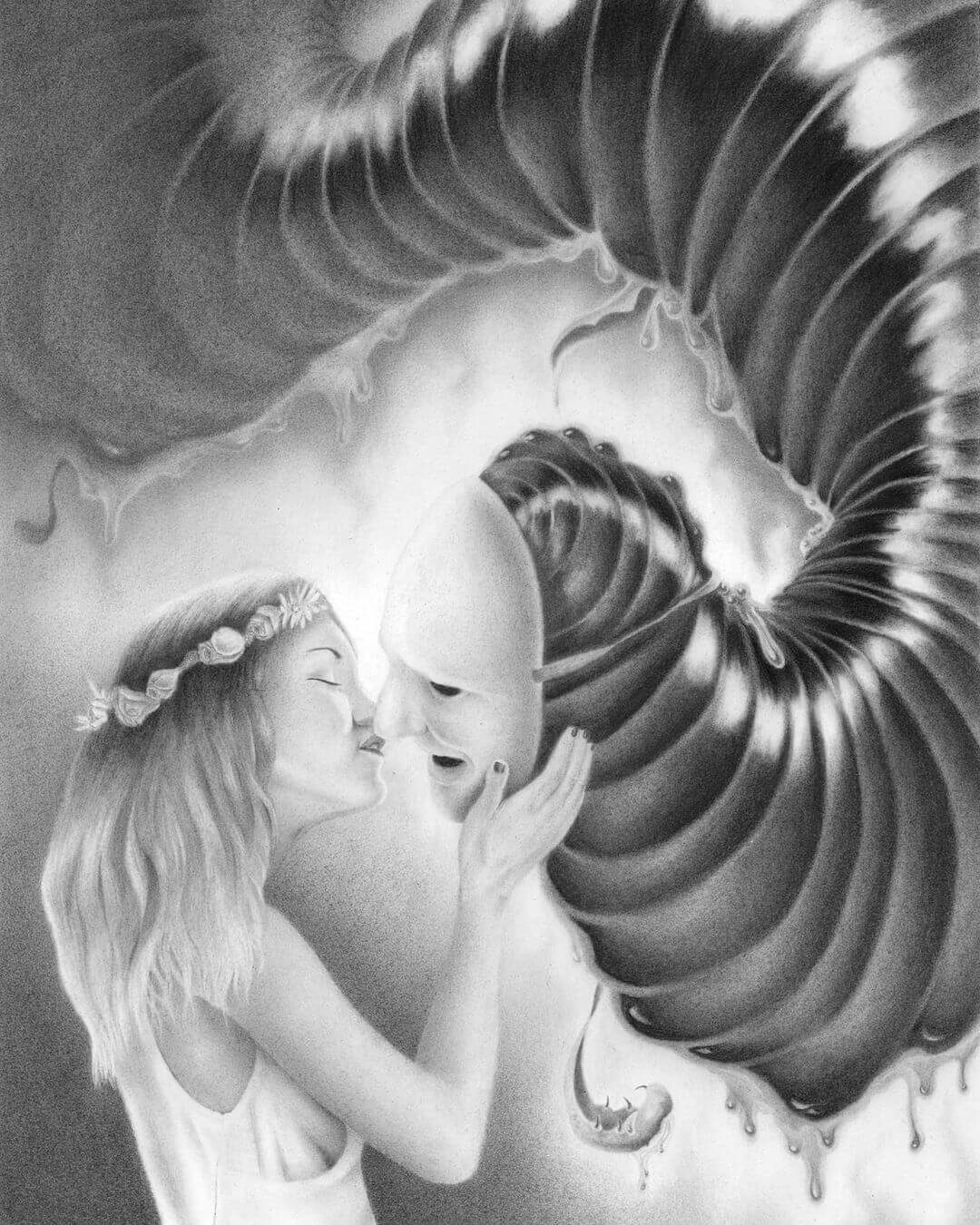 Graphite drawing of a woman kissing a monster by Carlos Fernández the Penrider