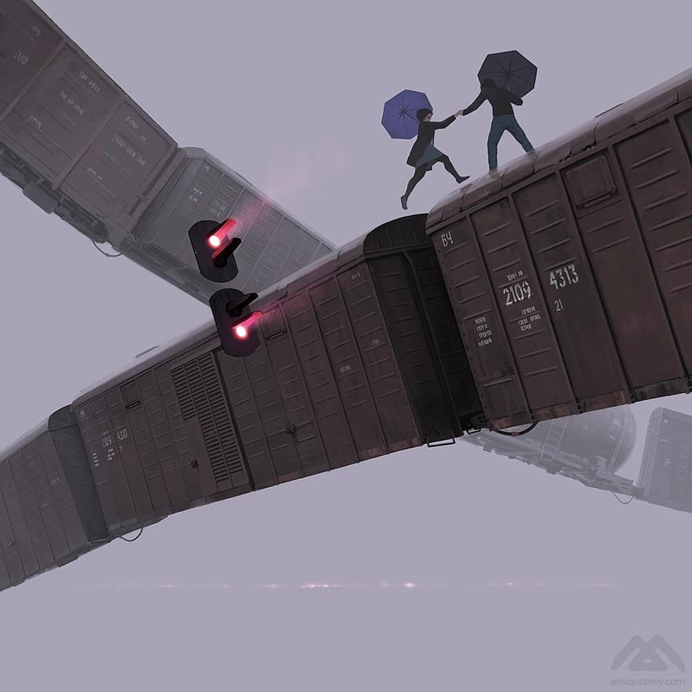 illustrations by Alex Andreev of a train with a couple running across