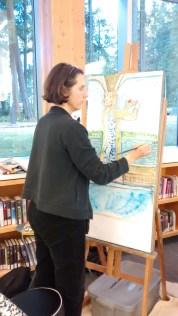 Diane paints at North Nanaimo Library OSA 2016 1